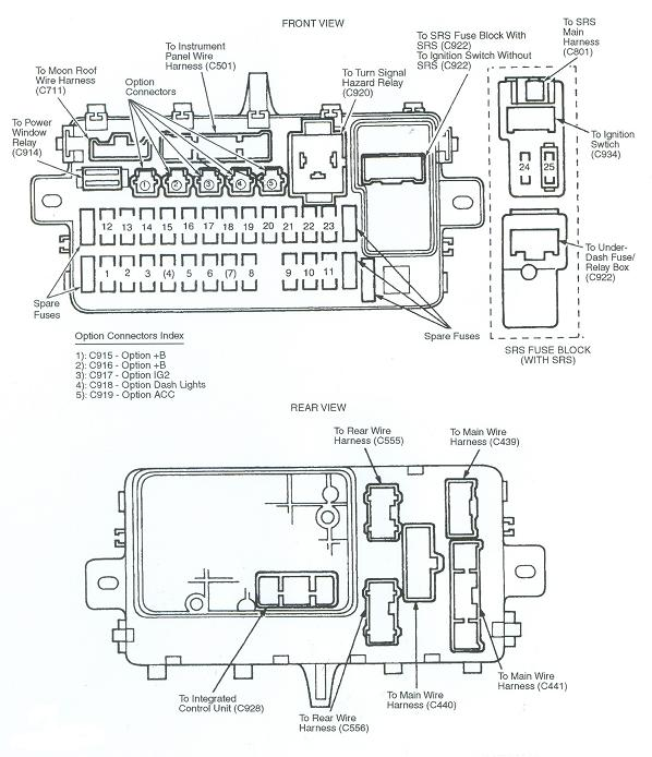 Fuse Box 95 Honda Civic   Wiring    Diagram