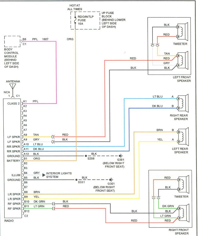 GM Radio Wiring Harness Diagram on trailblazer bose radio wiring diagram