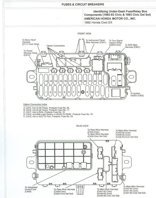 Fuse Box Diagram For 92 Honda Civic